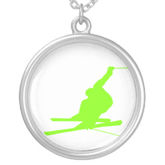 Chartreuse, Neon Green Snow Skiing Round Pendant Necklace