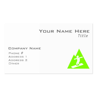 Chartreuse, Neon Green Snowboarding Business Card
