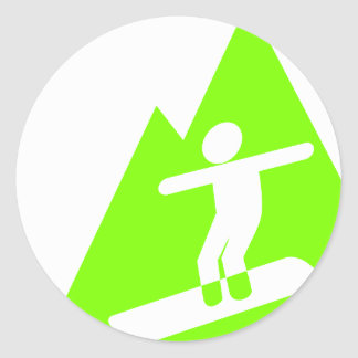 Chartreuse, Neon Green Snowboarding Classic Round Sticker