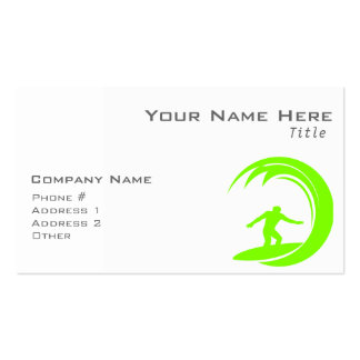 Chartreuse, Neon Green Surfing Double-Sided Standard Business Cards (Pack Of 100)