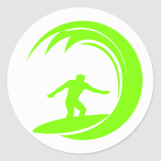 Chartreuse, Neon Green Surfing Classic Round Sticker
