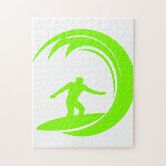 Chartreuse, Neon Green Surfing Jigsaw Puzzle