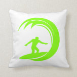 Chartreuse, Neon Green Surfing Throw Pillow