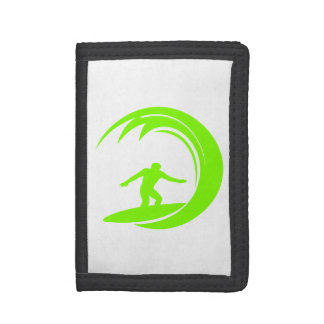 Chartreuse, Neon Green Surfing Tri-fold Wallet