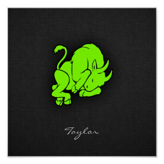 Chartreuse Neon Green Taurus Posters