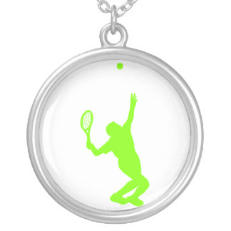 Chartreuse, Neon Green Tennis Round Pendant Necklace