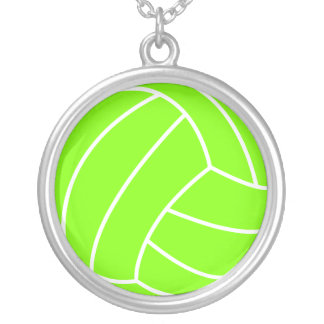 Chartreuse, Neon Green Volleyball Round Pendant Necklace
