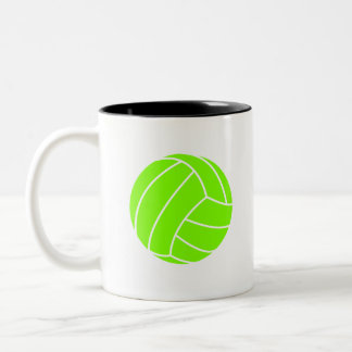 Chartreuse, Neon Green Volleyball Two-Tone Coffee Mug