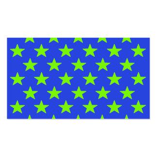 Chartreuse Neon Yellow Green Stars Blue Biz Cards