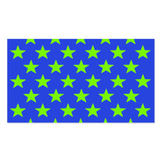 Chartreuse Neon Yellow Green Stars Blue Biz Cards Business Cards