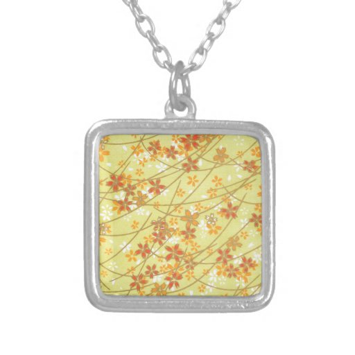 Chartreuse Origami Pattern Personalized Necklace