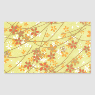 Chartreuse Origami Pattern Rectangular Sticker