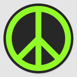 Chartreuse Peace Symbol Classic Round Sticker