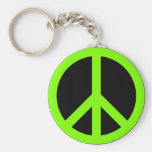 Chartreuse Peace Symbol Keychain