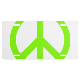 Chartreuse Peace Symbol License Plate