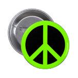 Chartreuse Peace Symbol Pinback Button