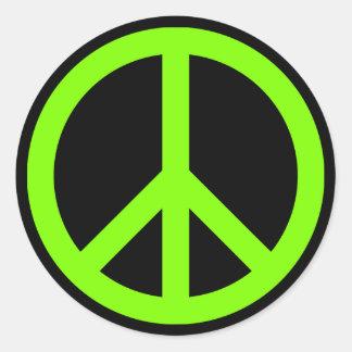 Chartreuse Peace Symbol Sticker