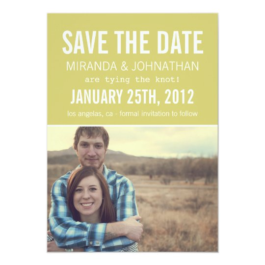 Chartreuse Photo Save The Date Invites