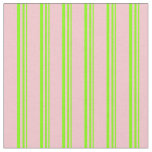 [ Thumbnail: Chartreuse & Pink Stripes Fabric ]