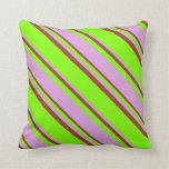 [ Thumbnail: Chartreuse, Plum, and Brown Stripes Pattern Pillow ]