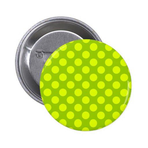 Chartreuse Polka Dots Pinback Button