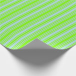 [ Thumbnail: Chartreuse & Powder Blue Striped Pattern Wrapping Paper ]