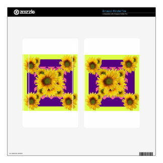 Chartreuse-Purple Floral Sunflower GIFTS Kindle Fire Skins