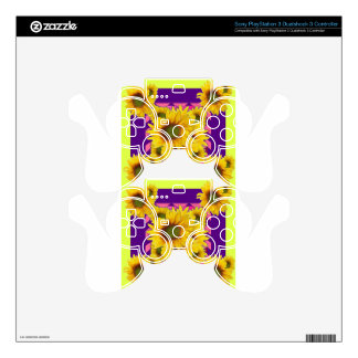 Chartreuse-Purple Floral Sunflower GIFTS PS3 Controller Decal