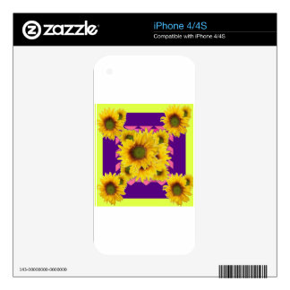 Chartreuse-Purple Floral Sunflower GIFTS Skin For The iPhone 4