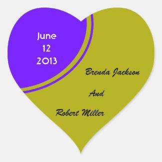 chartreuse Purple Modern Circle Wedding Heart Sticker