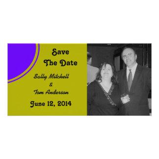 chartreuse Purple Modern Circle Wedding Photo Card