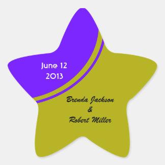 chartreuse Purple Modern Circle Wedding Star Sticker
