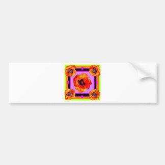 Chartreuse, Purple, Orange Poppies Art Bumper Sticker