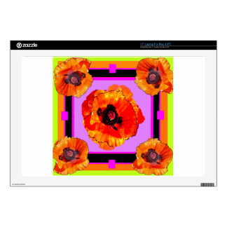 """Chartreuse, Purple, Orange Poppies Art Decal For 17"""" Laptop"""