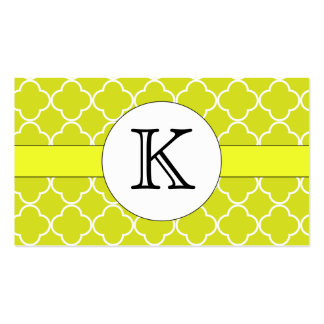Chartreuse Quatrefoil Pattern Double-Sided Standard Business Cards (Pack Of 100)