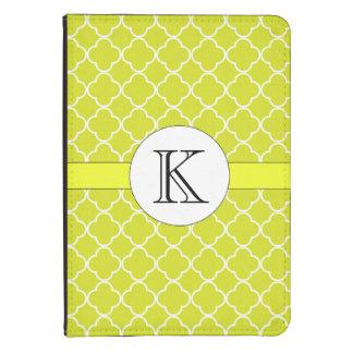 Chartreuse Quatrefoil Pattern Kindle Case