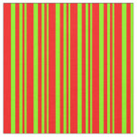 [ Thumbnail: Chartreuse & Red Colored Lined/Striped Pattern Fabric ]
