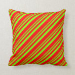 [ Thumbnail: Chartreuse & Red Colored Lined/Striped Pattern Throw Pillow ]