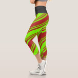 [ Thumbnail: Chartreuse & Red Colored Lines/Stripes Pattern Leggings ]