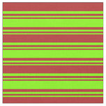 [ Thumbnail: Chartreuse & Red Colored Lines/Stripes Pattern Fabric ]