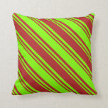 [ Thumbnail: Chartreuse & Red Colored Lines/Stripes Pattern Throw Pillow ]