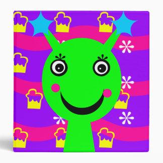 Chartreuse She-Alien Doodle 3 Ring Binder