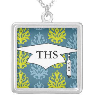 Chartreuse slate blue teal damask graduation square pendant necklace