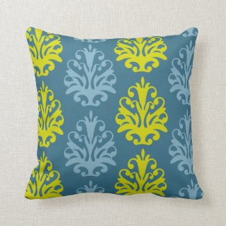 Chartreuse Slate Blue Teal Damask Pillow