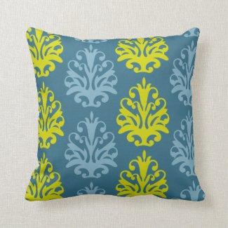 Chartreuse Slate Blue Teal Damask Pillow
