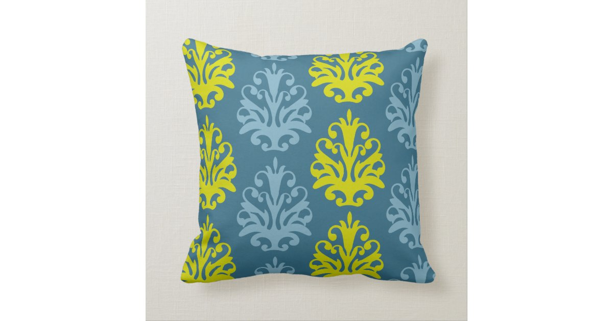 Chartreuse slate blue teal damask throw pillow Zazzle