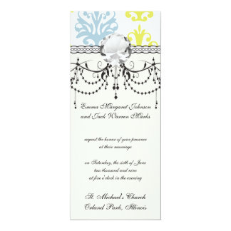 Chartreuse slate blue white damask card