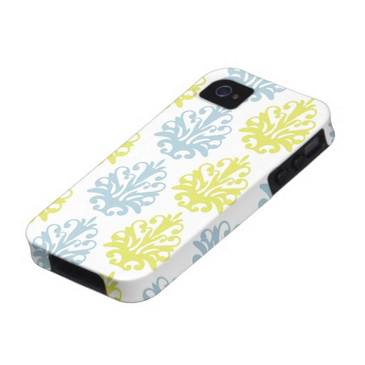 Chartreuse slate blue white damask copy iPhone 4/4S covers
