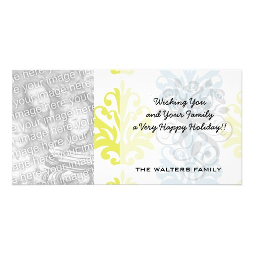 Chartreuse slate blue white damask picture card