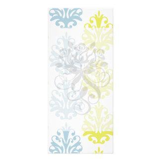 Chartreuse slate blue white damask customized rack card